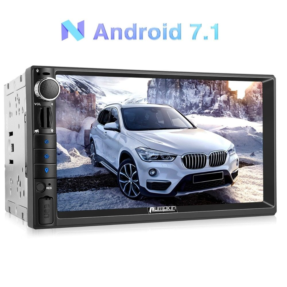 Pumpkin 2 Din 7'' Android 7.1 Universal Car Radio No DVD Player GPS Navigation Bluetooth Car Stereo Quad-core 4G Wifi Headunit