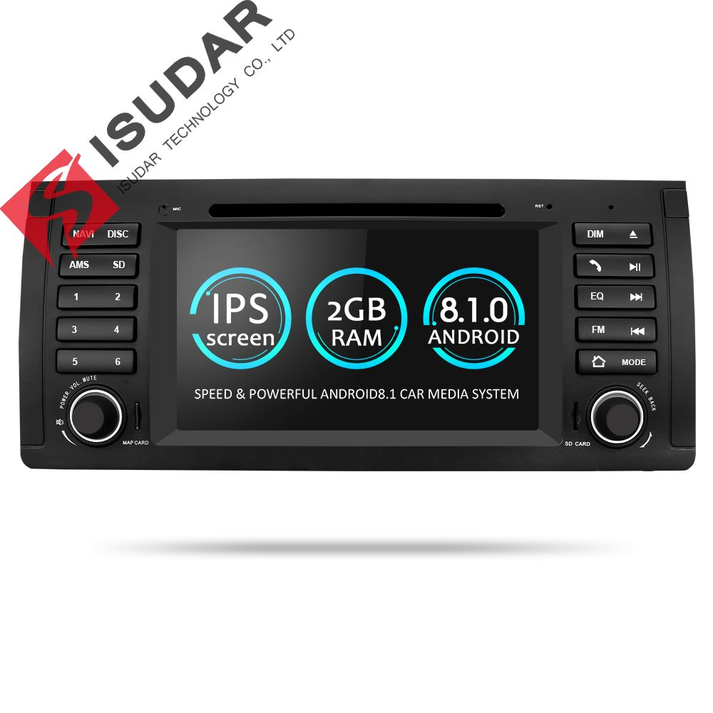 Isudar Car Multimedia player Android 8.1 GPS One Din DVD Player For BMW E39 5 Series M5 2GB RAM 16GB ROM Wifi Radio Mirror Link