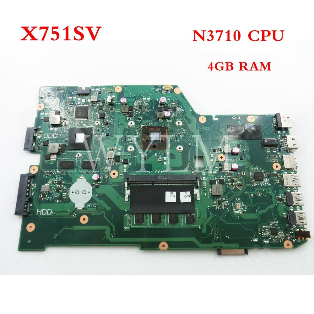 X751SV N3710 CPU 4GB mainboard For ASUS X751S X751SJ X751SV Laptop motherboard 90NB0BR0-R01100 Tested Working free shipping