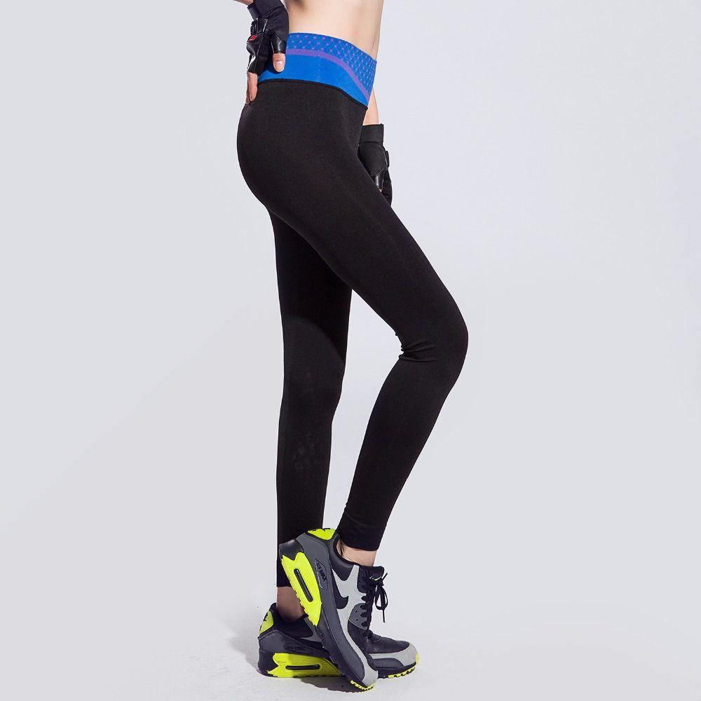 Для женщин узкие спортивные Брюки для девочек высокие эластичные быстросохнущая открытый Фитнес Бег Йога Сращивание Тонкий брюки