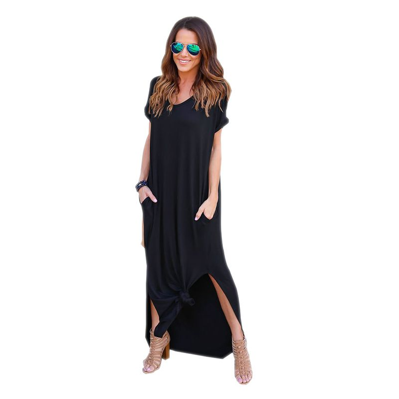 Long Dress For Women BOHO Beach Dresses Split Short Sleeve Roupa Vestidos 2017 Summer Bohemian Style Casual Dress <font><b>Elegant</b></font> L9223Z