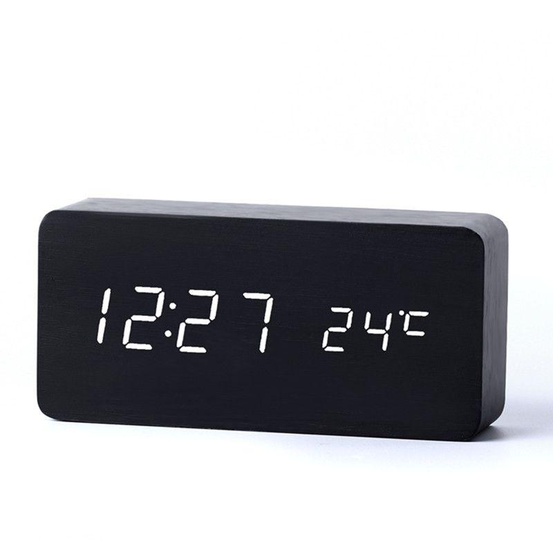 Horloges de bureau antiques avec trois groupes d'alarme LED horloge silencieuse montre numérique conseil chambre en bois bambou désespoir décor à la maison