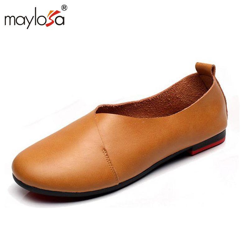Maylosa весенне-осенние женские ботинки из натуральной кожи высокого качества на плоской подошве брендовая повседневная обувь винтажная женс...