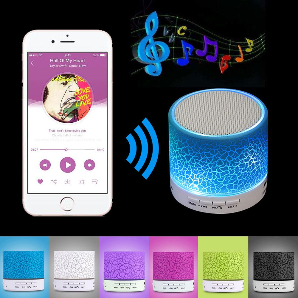A9 Mini Wireless Bluetooth Speaker W/ LED Hands Free TF USB Subwoofer Loudspeakers Portable 3.5mm MP3 Stereo Audio Music Player
