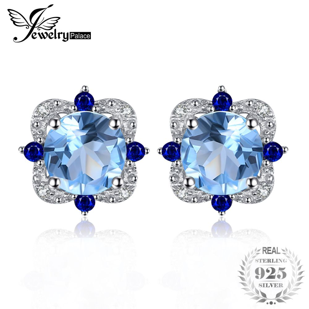 JewelryPalace Fashion Stud Earrings 2.27ct Round Natural Sky Blue Topaz Inlay Sapphire 925 Sterling Silver Vintage Fine Jewelry