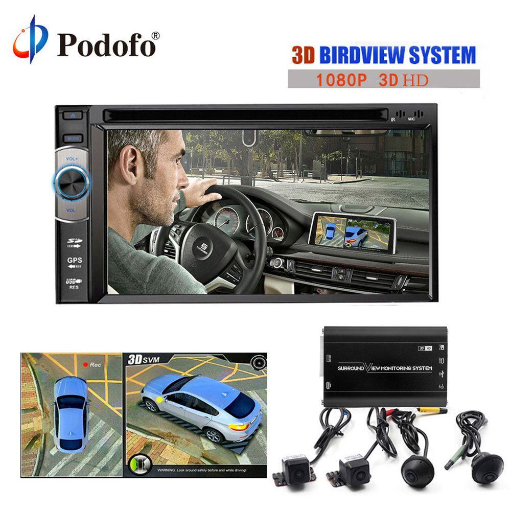 Podofo 3D 360 Grad HD Surround View Überwachung SystemDriving Mit Vogelperspektive Panorama 4 Auto kamera 1080 P DVR Recorder G-sensor