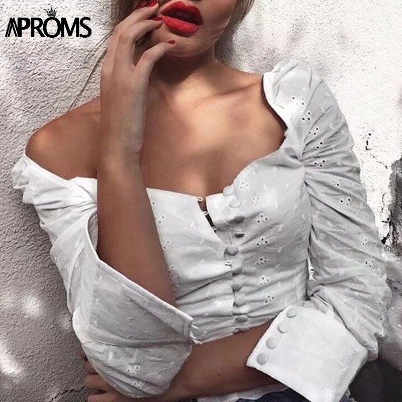 Aproms Sexy Square Neck Long Sleeve Lace Crochet Blouse Shirt Women Button <font><b>Down</b></font> White Crop Tops Summer High Street Blusas 2018