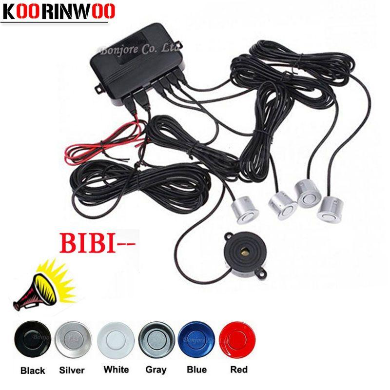 KOORINWOO Car Parking Sensors Parktronics 4 Black/silver/white/Gley 22mm Reverse Backup RadarS Sound Buzzer Beep Alarm Jalousie