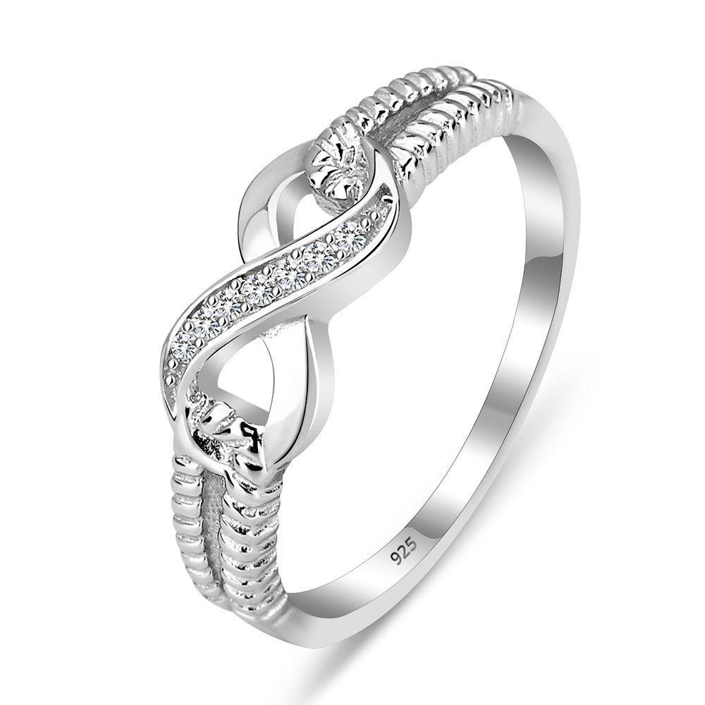 Éternité Anneau Bagues de Fiançailles En Argent Sterling 925 Anneaux Pour Les Femmes Argent De Mariage Lady Infinity Bijoux (Silveren SI1804)