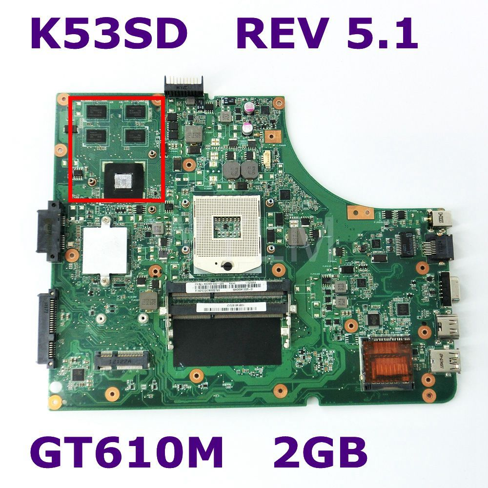 K53SD With Graphics Card GT610M 2GB Mainboard REV 5.1 For Asus K53SD K53S X53S A53S P53S laptop motherboard DDR3 100% Tested