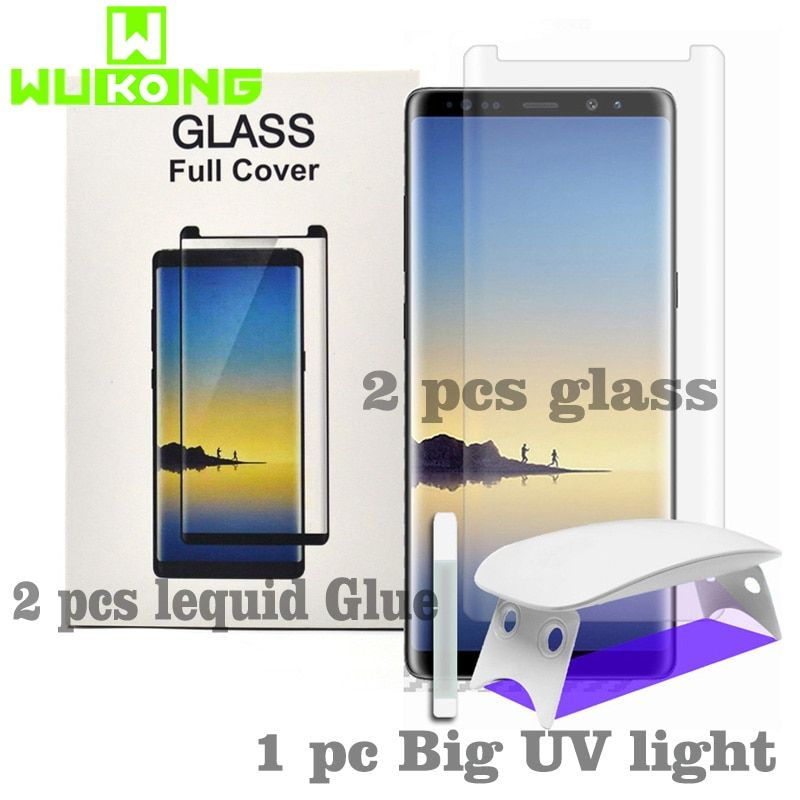 2pcs Screen Protector For Samsung S8P S9 Plus Note8 Note 9 S10e Plus Tempered Glass Liquid Full Glue UV Light for Huawei P30 pro