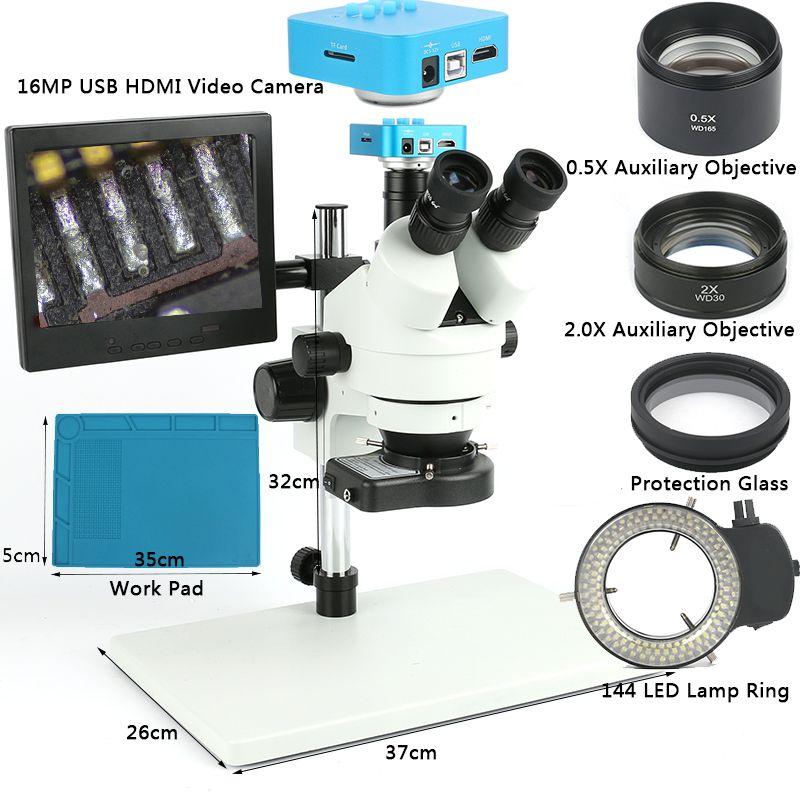 Industrielle Simul Brenn Trinocular Stereo Mikroskop 7X90X1080 p 16MP USB HDMI Video Kamera 8 LCD arbeit Stehen Für PCB Löten