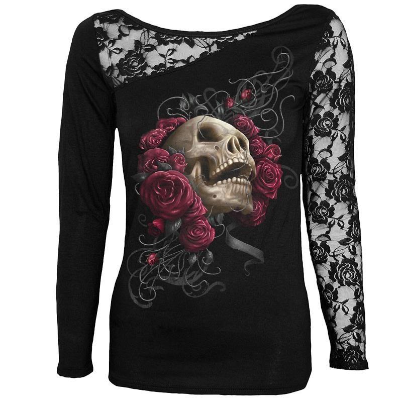 Nuevo de Las Mujeres T-Shirt Sexy Cráneo de Impresión de Manga Larga Camiseta Del Remiendo Del Cordón Negro Tee Tops Jerseys Plus Size LJ7915M