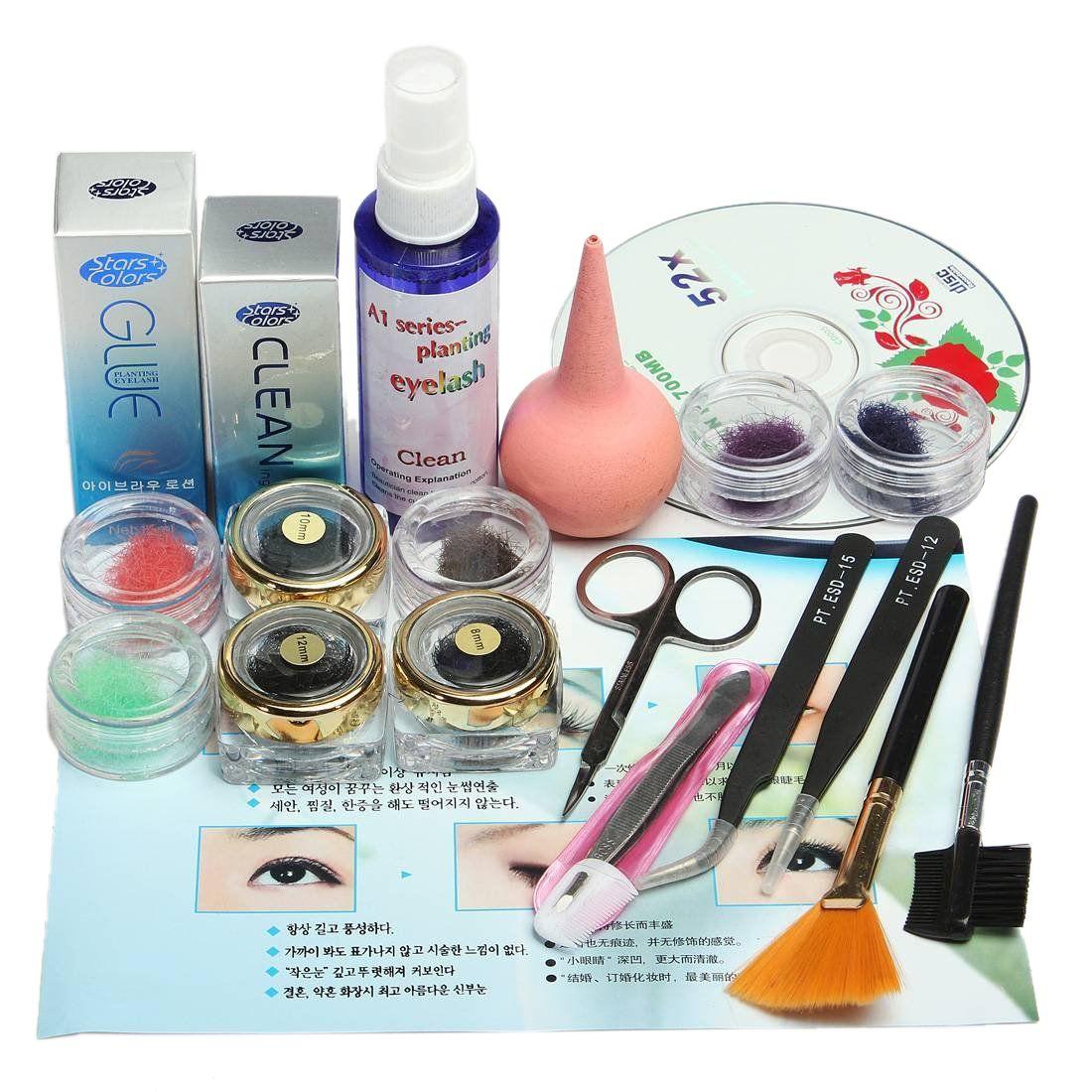 Professionnel Faux Cils Extension Cosmétique Maquillage Kit Ensemble avec Case Salon Outil Cadeau