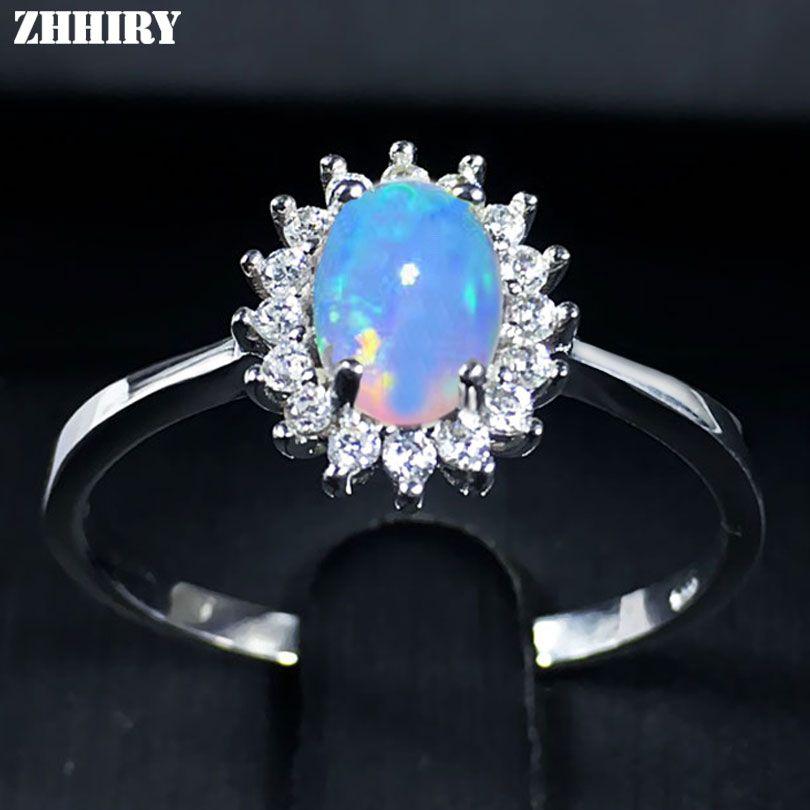 ZHHIRY pour femme véritable anneau opale de feu naturel 925 anneaux en argent Sterling couleur pierres précieuses bijoux fins