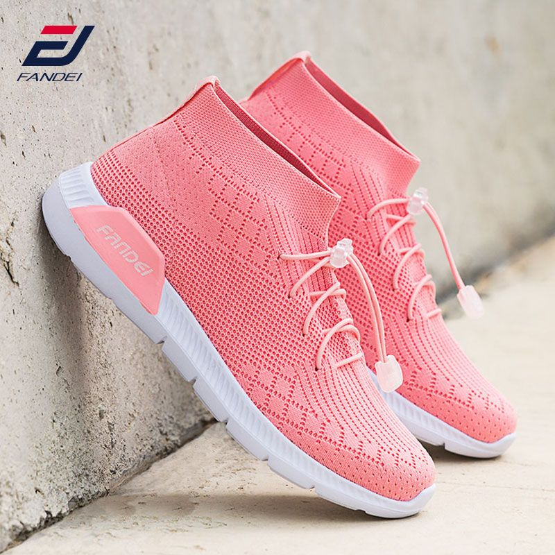 FANDEI spring women running shoes breathable mesh women sock sneakers sport walking shoes new lace design zapatillas hombre