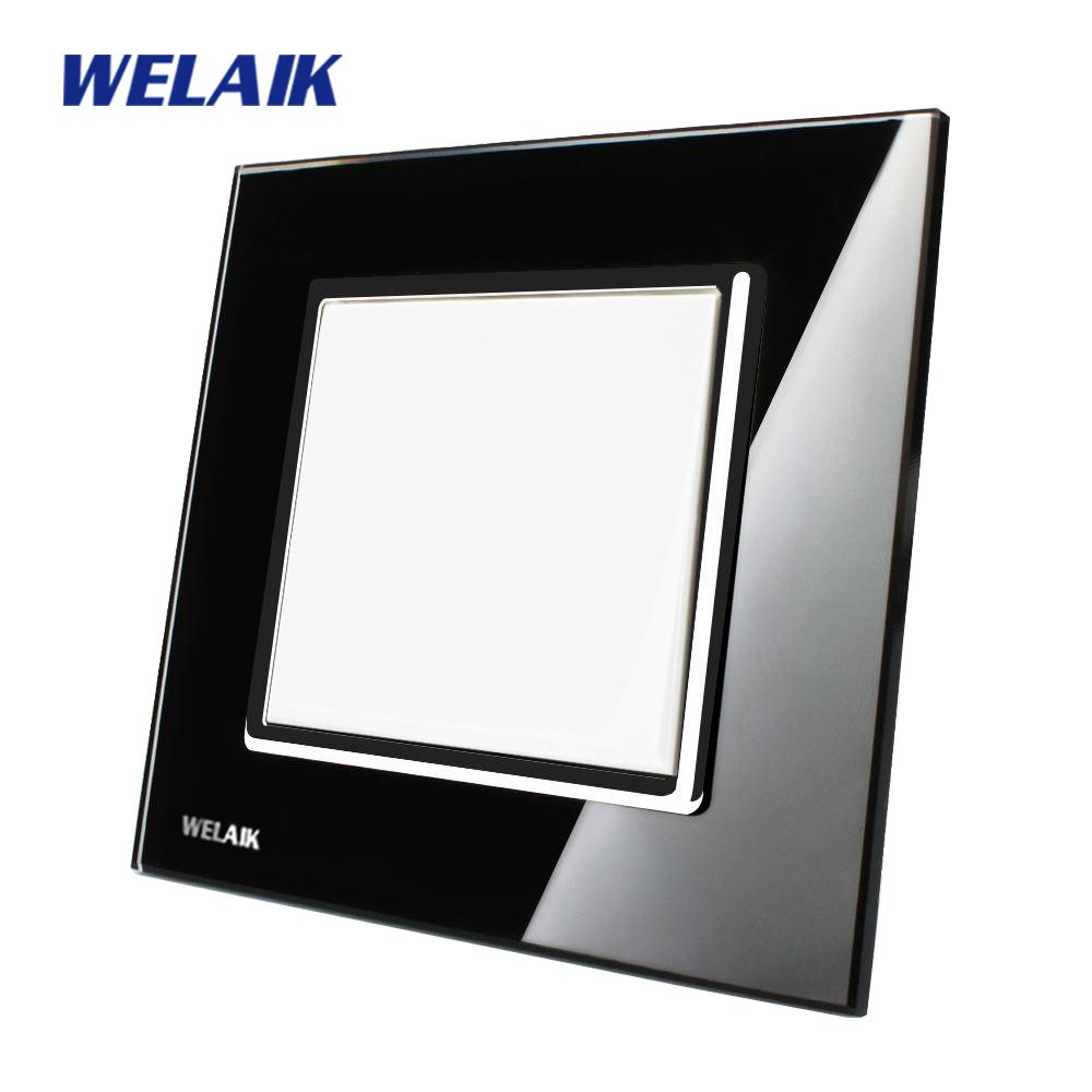 WELAIK Push Button Switch Manufacturer of Wall Light Switch Black Crystal Glass Panel AC 110-250V 1Gang 1Way A1711B