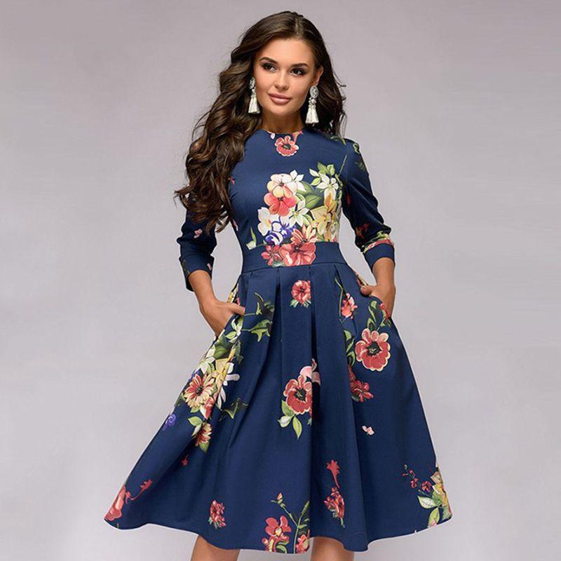 2019 HOT femmes élégant a-ligne robe 2019 Vintage impression fête robes trois quarts manches femmes printemps robe (pas de poches)