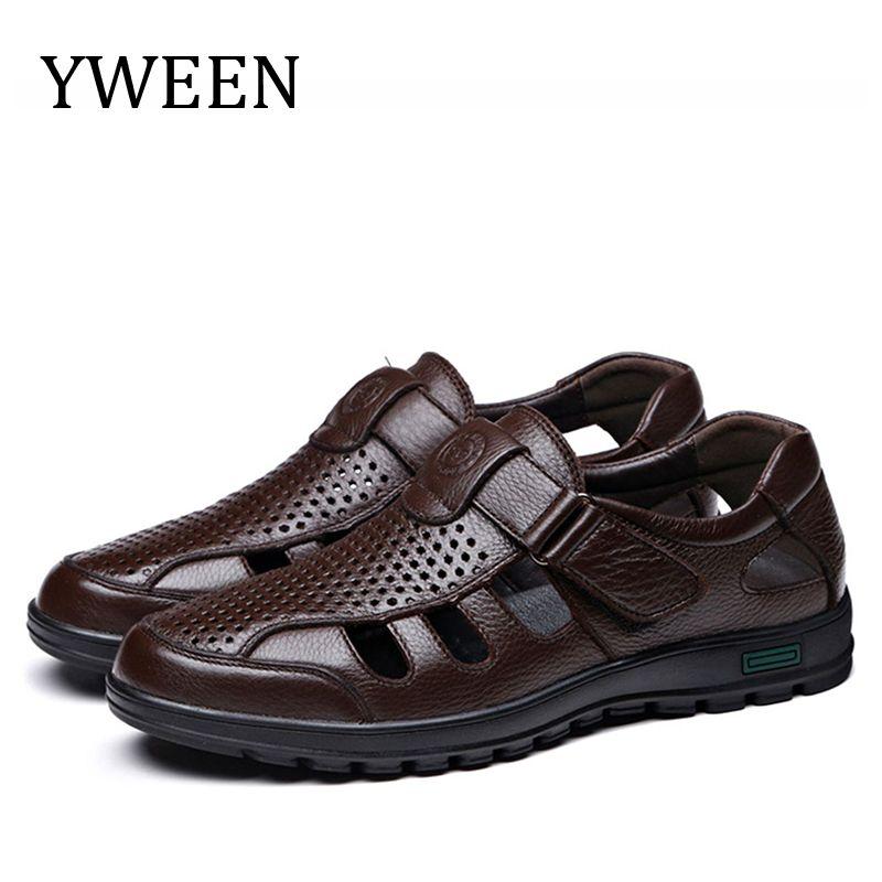YWEEN grande taille hommes sandales à la mode en cuir sandales hommes en plein air chaussures décontractées respirant pêcheur chaussures hommes chaussures de plage