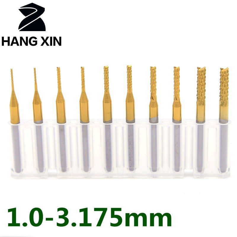 Wood router bit 1.0-3.175mm titanium coating pcb strawberry metal cutting cnc rotating burr 10PCS tungsten carbide wood cutter
