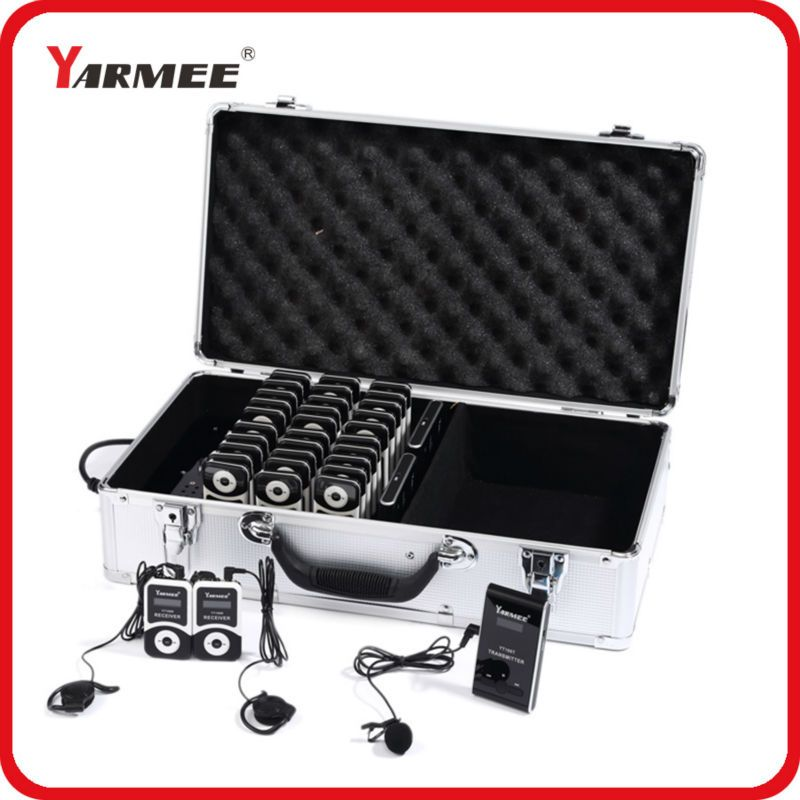 YARMEE Professional Portable Simultaneous Interpretation System With 2 Transmitter And 30 Receivers YT100