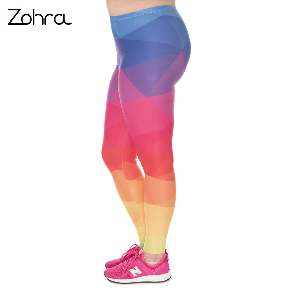 Zohra Fashion Large Size Leggings Triangles Rainbow Printed High Waist Leggins Plus Size Trousers Stretch Pants For Plump Women