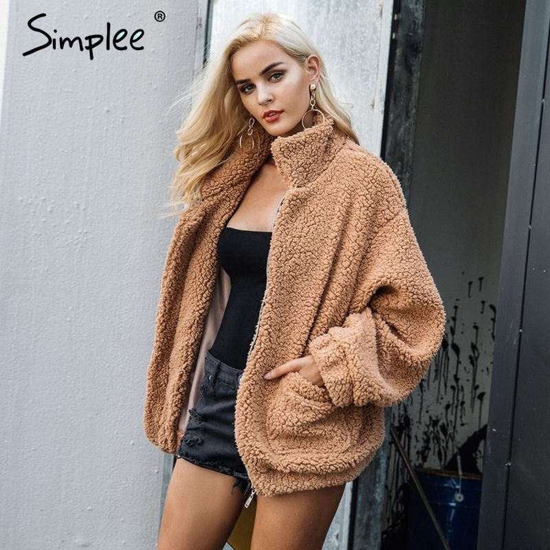 Simplee Faux lambswool oversized jacket coat Winter black warm hairly jacket Women autumn outerwear <font><b>2017</b></font> new female overcoat