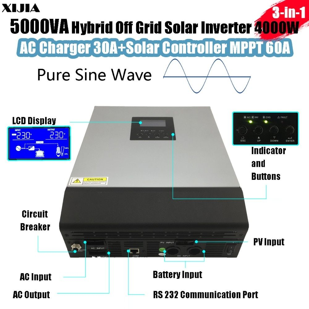 5000VA Hybrid Pure Sine-wave Inverter with AC Charger+MPPT Solar Controller DC 48V to AC 220V/230V/240V 4000W