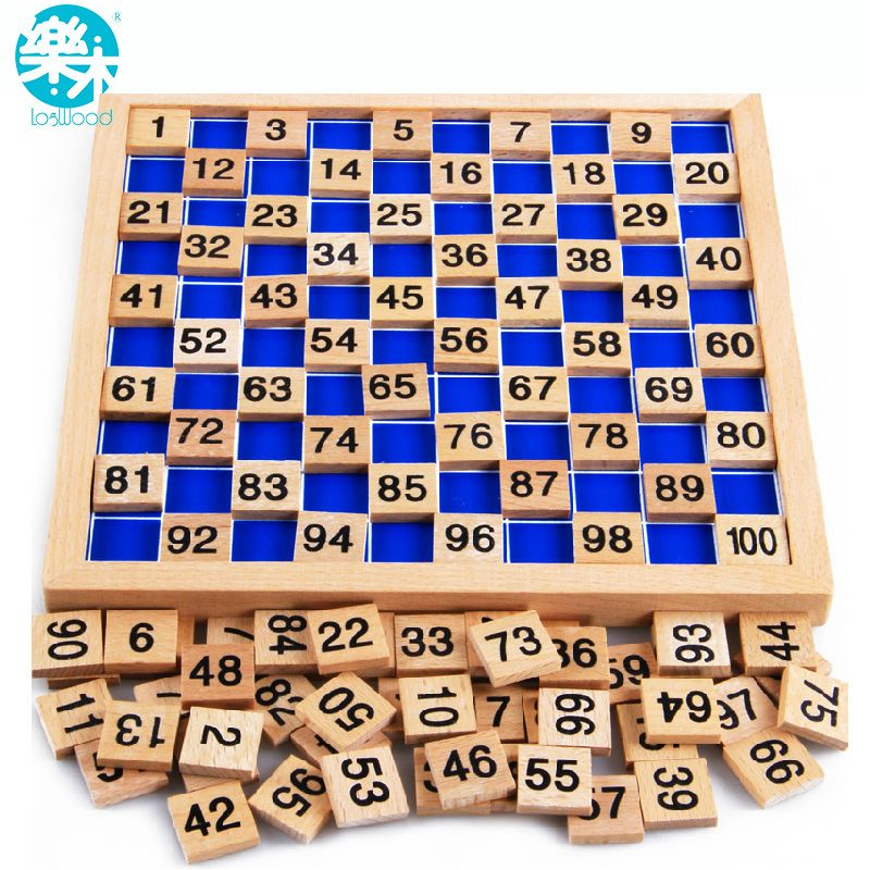 Montessori Education Wooden Toys 1-100 Digit Cognitive Math Toy Teaching Logarithm <font><b>Version</b></font> Kid Early Learning Gift