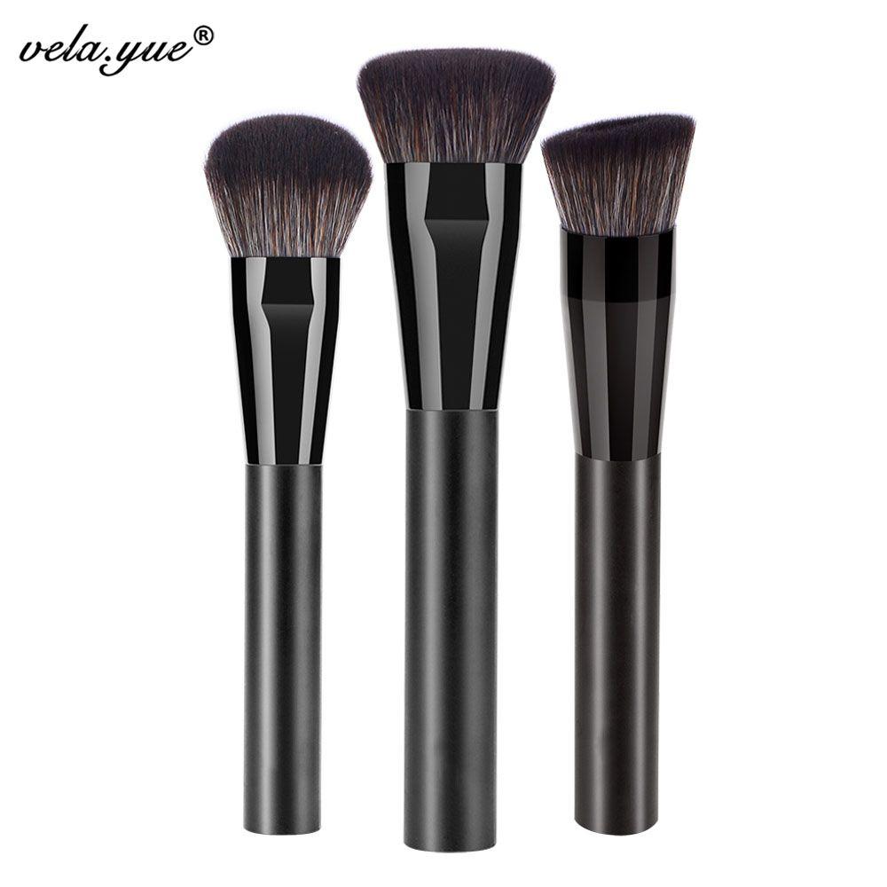 Ensemble de pinceaux de maquillage Pro pour le visage 3 pièces fond de teint en poudre Blush crème bronzante surligneur Kit d'outils de beauté cosmétique