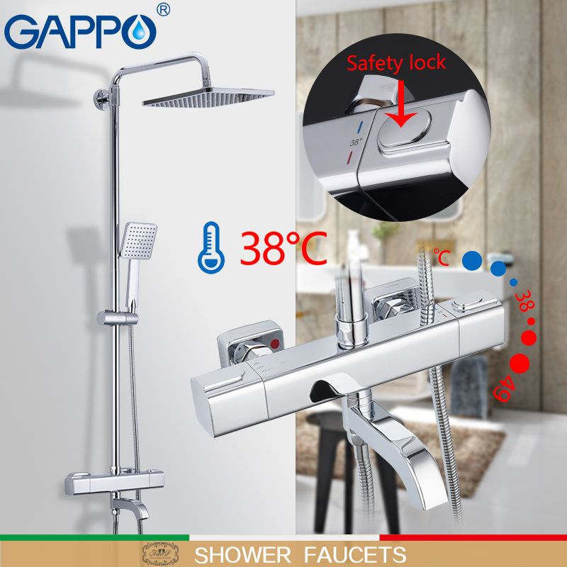 GAPPO dusche armaturen bad dusche set wand montiert thermostat bad dusche wasserfall dusche köpfe chrome mixer wasserhahn