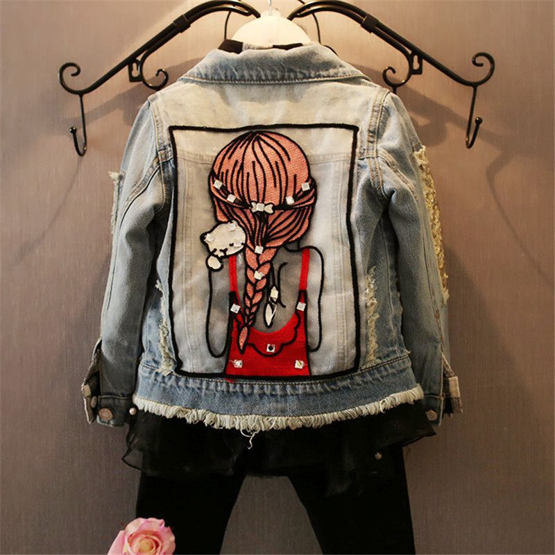 Children Girls Jackets <font><b>Cool</b></font> Kid Long Sleeves Turn-down Collar Buttons Coats Pocket Girl Pattern Denim Outerwear Kids Clothes Hot