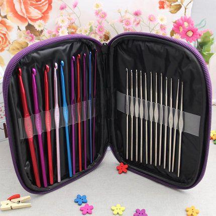 Livraison gratuite de haute qualité 22 pièces ensemble multi-couleur en aluminium Crochet crochets aiguilles tricot tissage artisanat fil