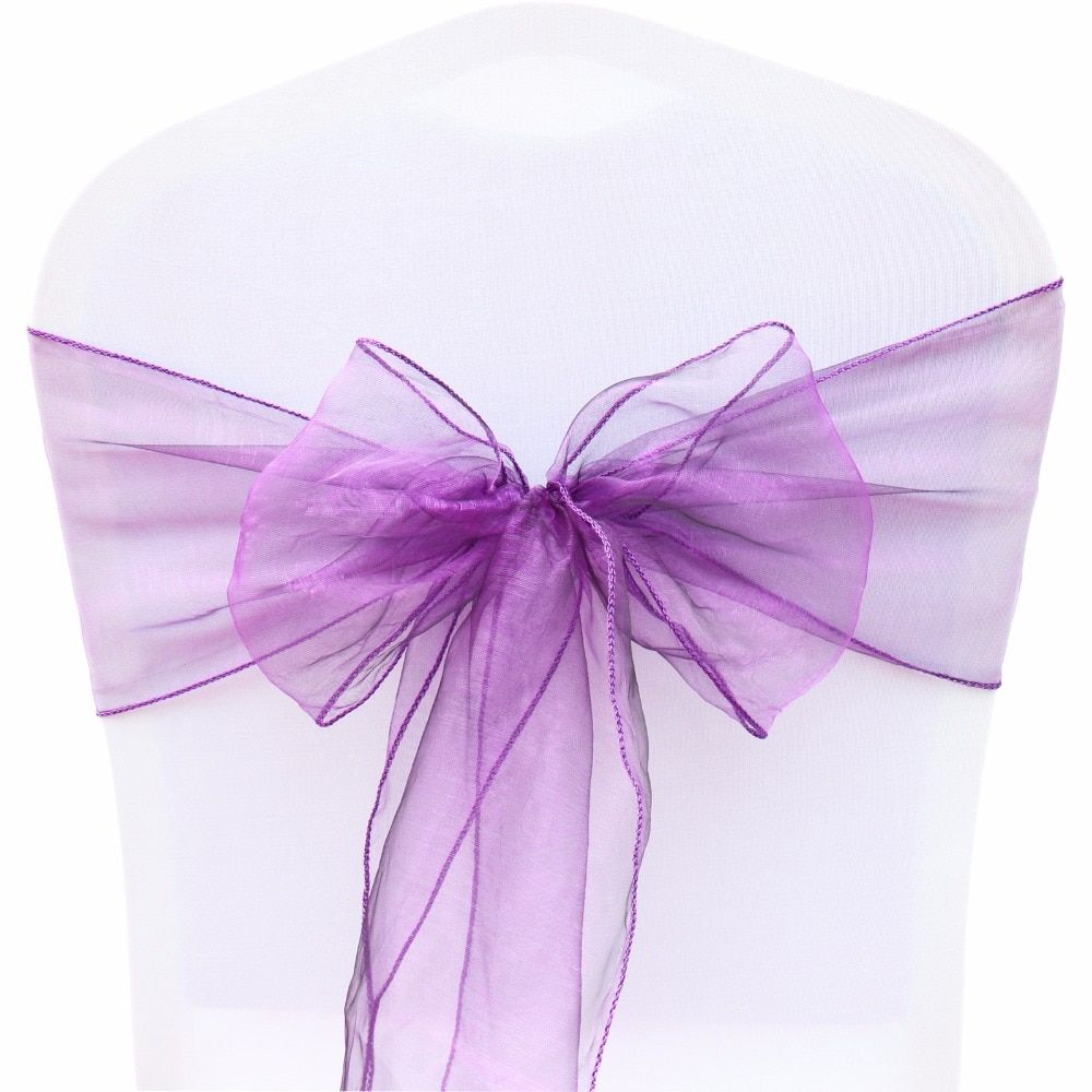 100Pcs Organza Chair Sashes FR Stock 18cmx275cm Chiffon Fabric Bows Chairs Cover DIY Wedding Party Event Ceremony Decoration
