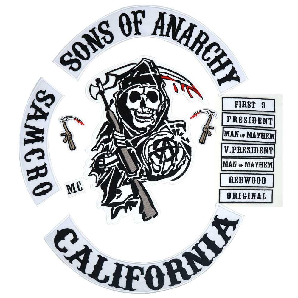 2015 Original Son de veste dos brodé Anarchy motard cavalier Patch support brodé Biker patchs Badge 14 PCS/LOT