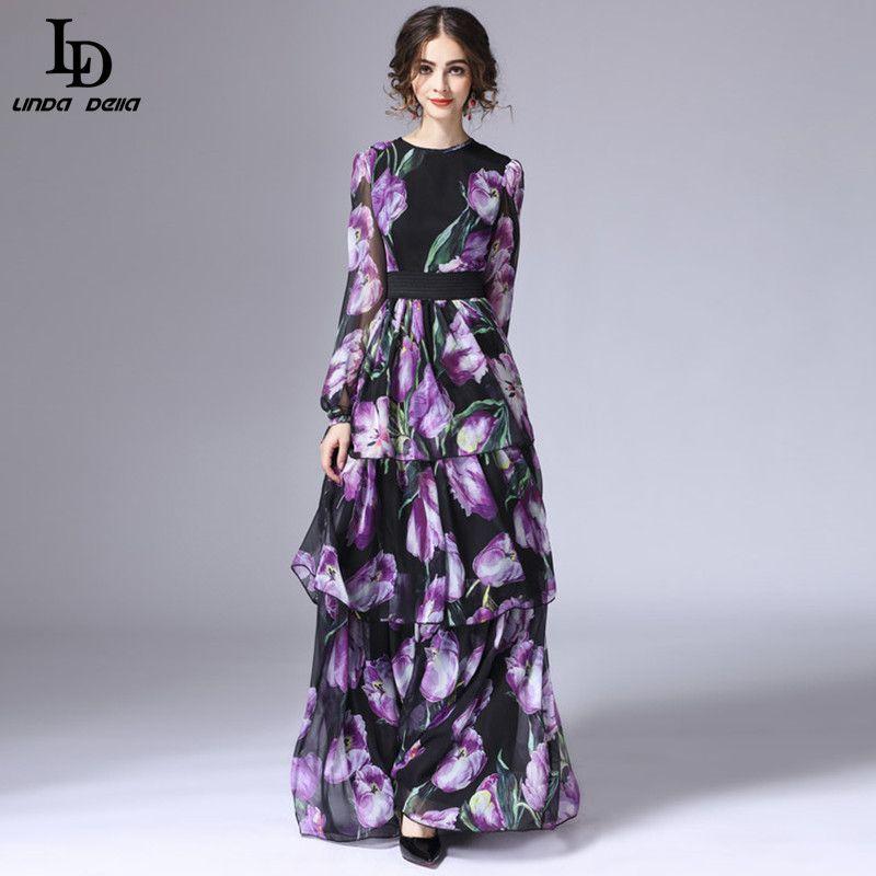 LD LINDA DELLA Frühjahr Neue Fashion Runway Maxi Kleid Frauen Langarm Vintage Tiered Tulip Floral Gedruckt Lange Kleid