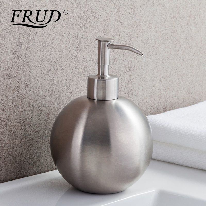 FRUD Single Stainless Steel Pumps Manually Soap Dispenser Bottle Of Hand Sanitizer Circular Device 500ml Bathroom HardwareY35012