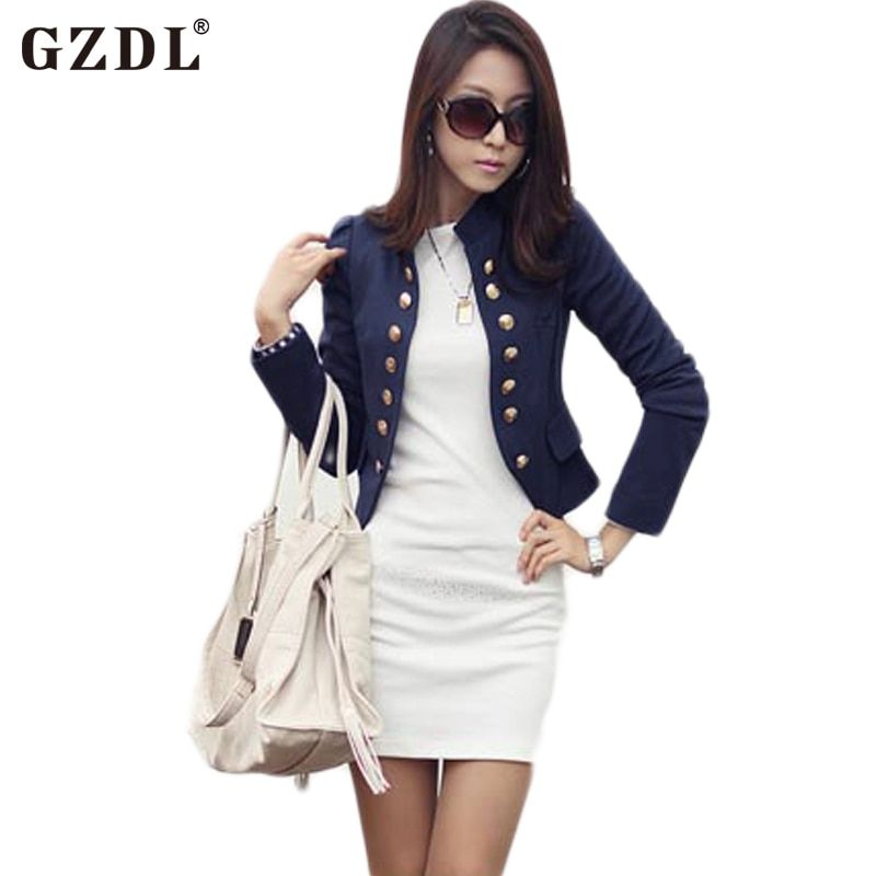 GZDL Casual Female Autumn Cardigans Long Sleeve Double Breasted Women Blazers Jackets Slim Fit Feminina Short Tops Coats CL1076