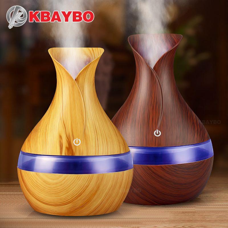 KBAYBO 300 ml USB arôme électrique diffuseur d'huile essentielle humidificateur d'air à ultrasons Grain de bois LED lumières diffuseur d'arôme pour la maison