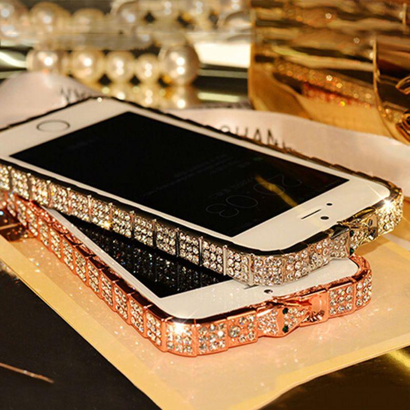 2017 ON SALE Luxury Bling Snake Diamond Inlay Metal Rhinestone Bumper fashional phone Case for iPhone 5 6 6s  Plus Crystal Frame