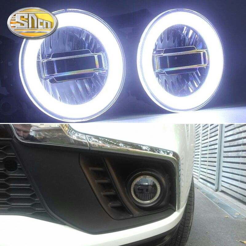 SNCN 3-IN-1 Functions Auto LED Angel Eyes Daytime Running Light Car Projector Fog Lamp For Mitsubishi ASX 2011 - 2016 2017 2018
