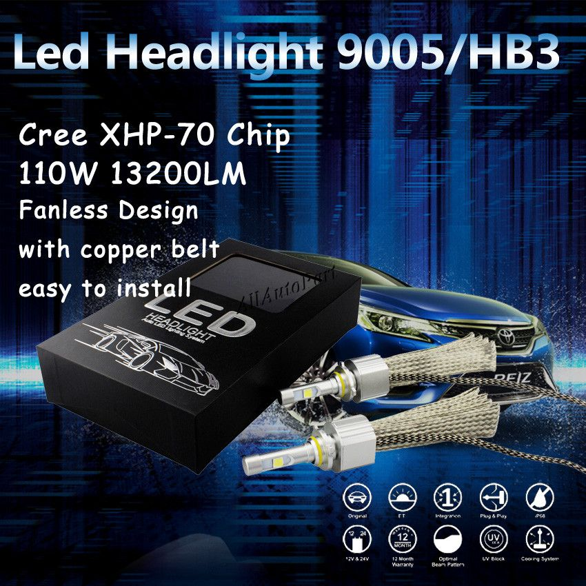1 Set H4 9003 HB2 110w 13200lm For C ree XHP70 H13 9004 9007 Car LED Headlight Kit High Low Dual Beam 6500K H7 H11 9005 9006 55W