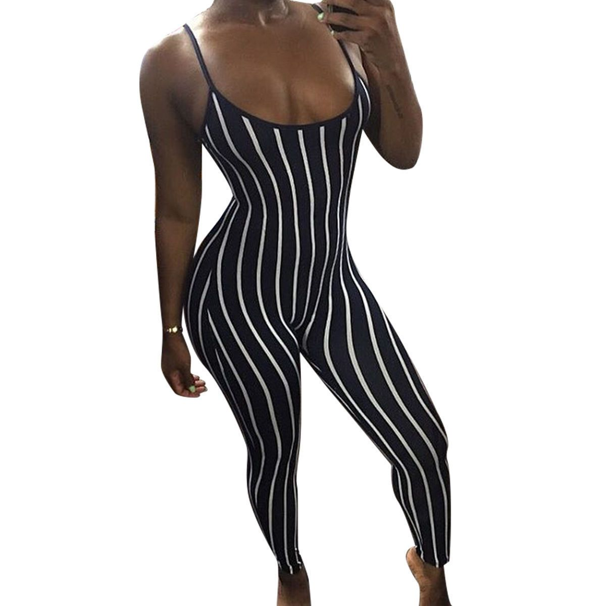 New Fashion Jumpsuit Women Outfit Clothes Sexy Ladies Sleeveless Striped Female Summer Playsuit Bodycon Party Jumpsuit Romper