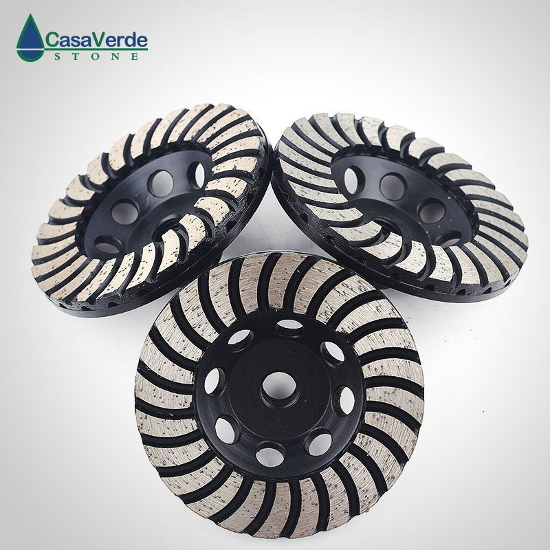 Free shipping coarse/ medium/fine grit 4 inch diamond turbo cup wheels M14 thread for grinding concrete and stone 3pcs/ set