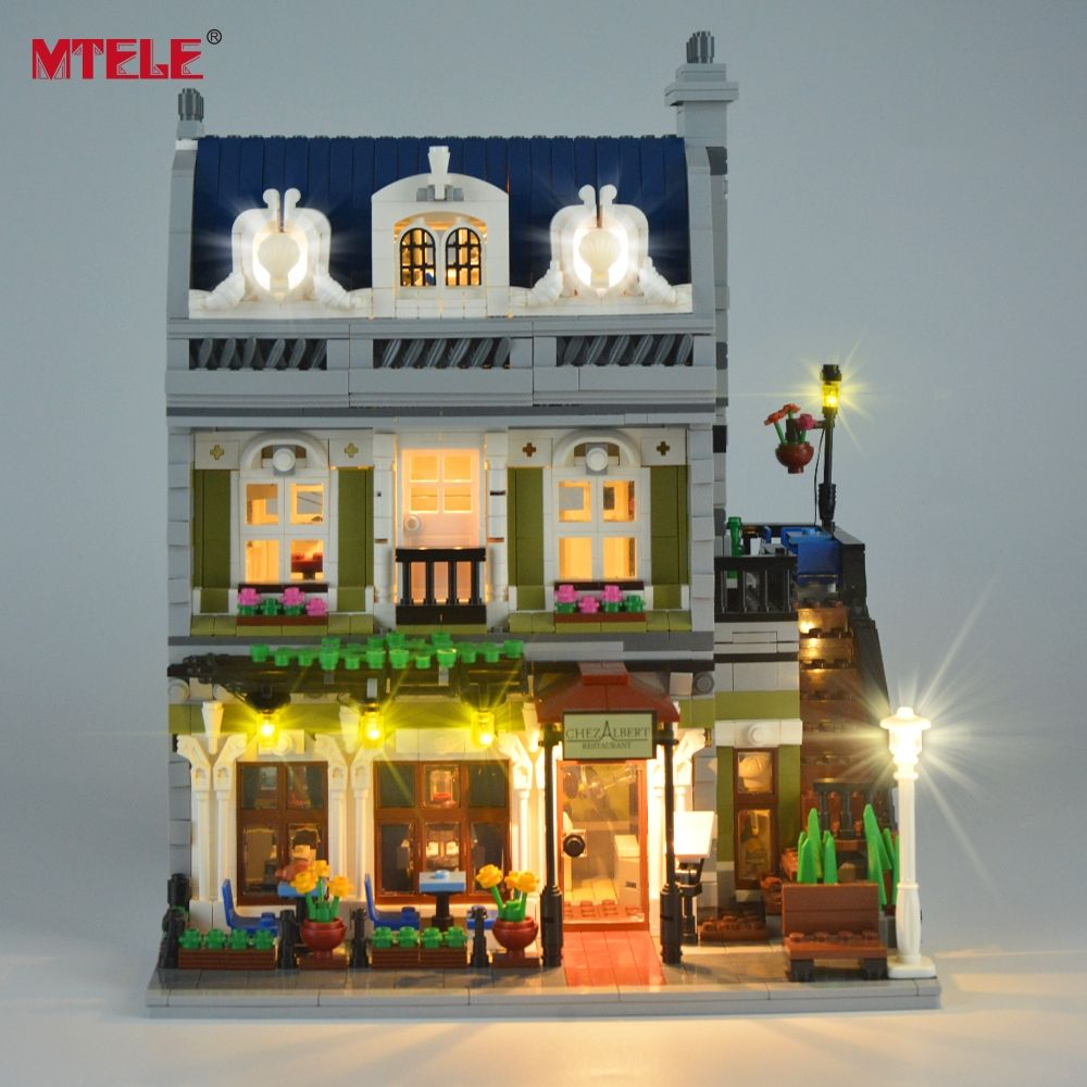 MTELE Brand LED Light Up Kit Toy For Creator Expert City Street Parisian <font><b>Restaurant</b></font> Compatile with Lego 10243