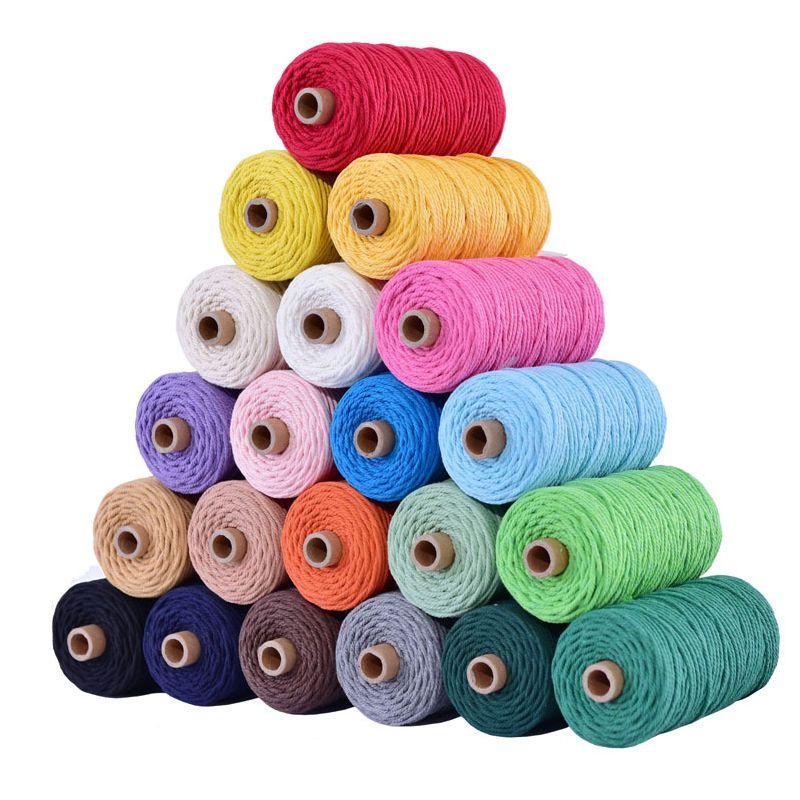 3mm 100% coton cordon coloré corde corde Beige torsadé artisanat macramé chaîne bricolage Textile à la maison mariage décoratif approvisionnement 110 yards