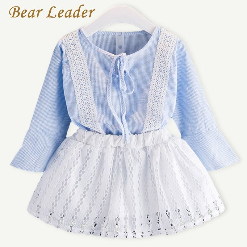 Bear Leader Girls Clothing Sets 2018 Spring Kids Clothing Sets Plaid Lace Shirt+Lace Skirt 2Pcs for Baby Girls Clothes 3-7Y Suit