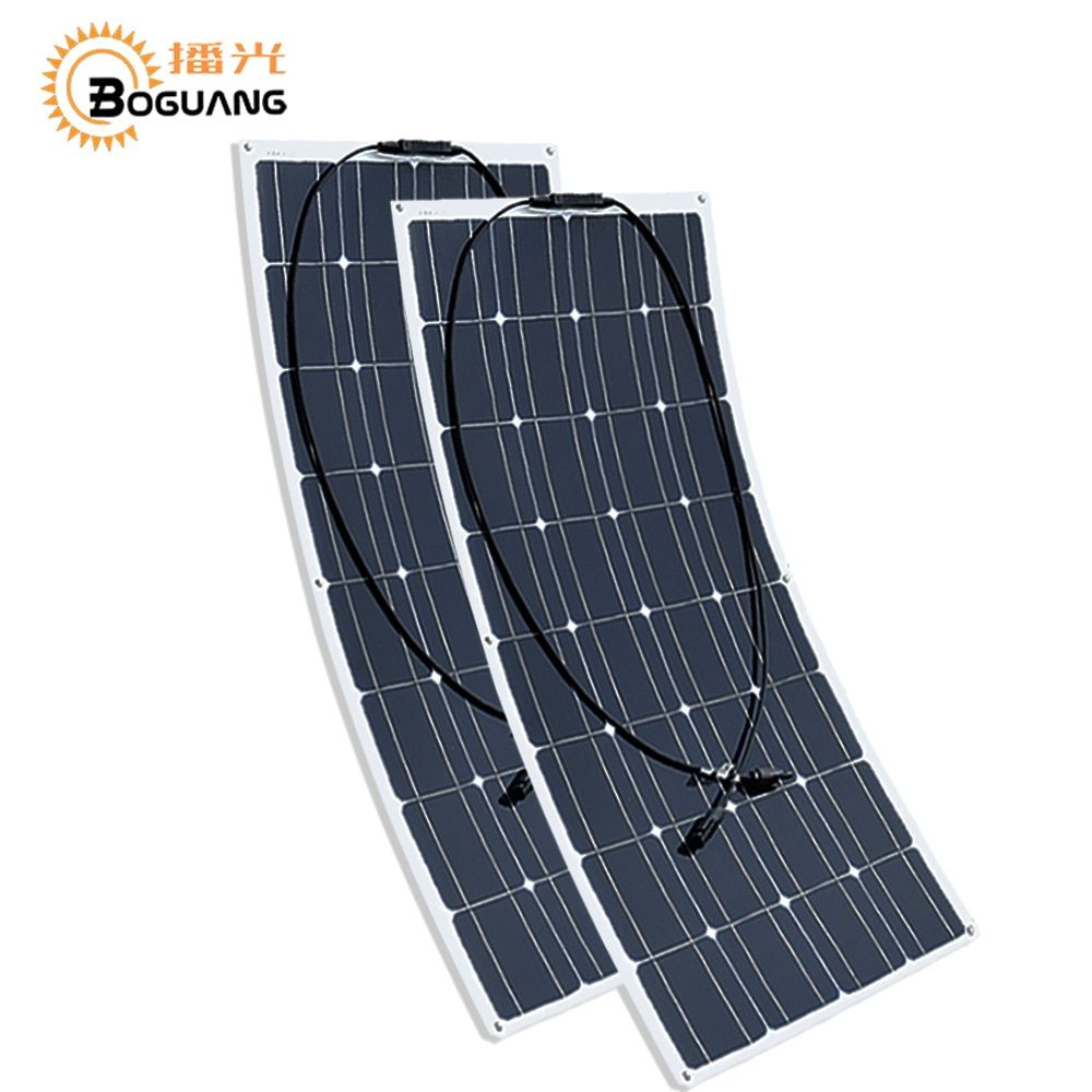 2 pcs 100w Solar Panel <font><b>semi</b></font> flexible 200W solar system Photovoltaic solar panel 12v battery/yacht/RV/car/boat AU/RU/UA/CA Stock