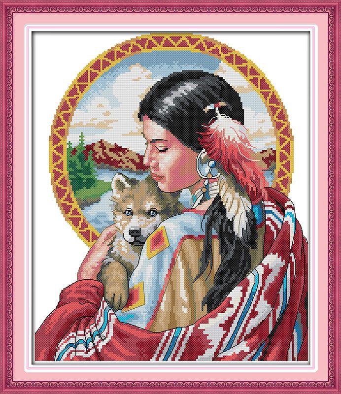 Belle fille indienne imprimé toile DMC compté chinois point de croix Kits imprimé point de croix ensemble broderie couture