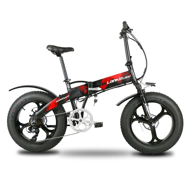 Lankeleisi X2000Plus Electric Bike Fat Tire Ebike 7 Speeds Full Suspension Foldable 500W Motor 48V 12.8A Lithium Battery E-bike